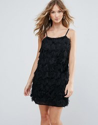 Deby Debo Vegas Fringe Cocktail Dress Noir Black