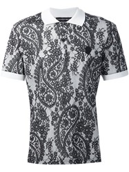 Alexander Mcqueen Paisley And Lace Print Polo Shirt White
