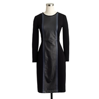 J.Crew Leather Panel Dress Black Multi