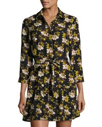Collective Concepts Floral Print Spread Collar Shirtdress Black