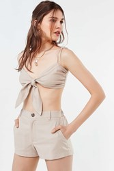 Urban Outfitters Uo High Rise Linen Short Neutral