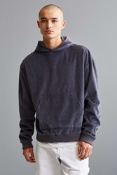 Urban Outfitters Uo Malone Velour Hoodie Sweatshirt Charcoal