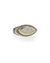 Silver And 18K Gold Diamond Marquise Ring Konstantino