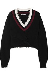 Alexander Wang T By Cropped Frayed Cotton Blend Sweater Black