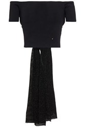 Esteban Cortazar Woman Cropped Off The Shoulder Tie Back Knitted Top Black