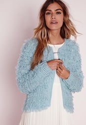Missguided Loop Knit Shrug Cardigan Blue Blue
