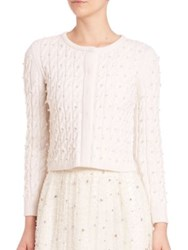 Alice Olivia Ozzie Embellished Cable Knit Cardigan White
