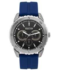 Kenneth Cole Reaction Men's Blue Silicone Strap Watch 46Mm Silver