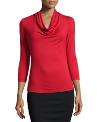 Lafayette 148 New York Nouveau Cowl Neck Jersey Tee Red