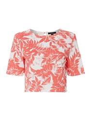 Therapy Palm Print Crop Shell Top Coral