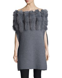Roberto Cavalli Fur Trim Convertible Neck Knit Poncho Size M Gray