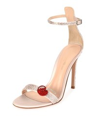 Gianvito Rossi Strass Cherry Ankle Wrap 105Mm Sandal Pink