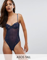 Asos Tall Cacey Fishnet And Lace Underwire Thong Body Navy