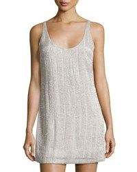 Halston Sleeveless Embellished Shift Dress Gray