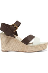 Paloma Barcelo Ceralin Leather Espadrille Wedge Sandals Brown