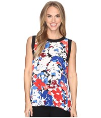 Vince Camuto Sleeveless Nautical Blooms Blouse With Solid Contrast Antique White Women's Clothing