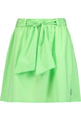 Love Moschino Belted Cotton Poplin Mini Skirt Green