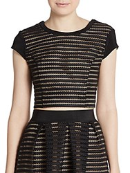 Abs By Allen Schwartz Mesh Stripe Crop Top Black
