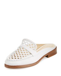 Alexandre Birman Alexa Woven Leather Mule Slide White