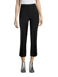Marc Jacobs Crystal Embroidered Wide Leg Wool Trousers Black