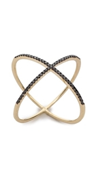 Ef Collection Diamond X Ring Yellow Gold Black