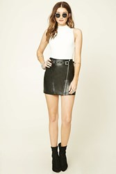 Forever 21 Belted Faux Leather Mini Skirt Black