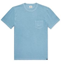 Faherty Slim Fit Garment Dyed Slub Cotton Jersey T Shirt Blue