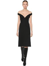 Prada Natte Wool Gabardine Midi Dress Black