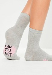 Missguided Grey Can You Not Ankle Socks