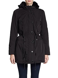 Marc New York Faux Fur Trimmed Anorack Jacket Black