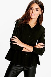 Boohoo Peplum Shirt Black