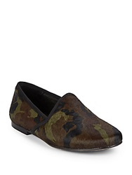 Gentle Souls Edge Y Camo Print Calf Hair Flats Green