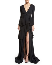 Roberto Cavalli Long Sleeve Tiered High Slit Gown Black Women's