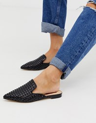 London Rebel Woven Point Flat Mules White