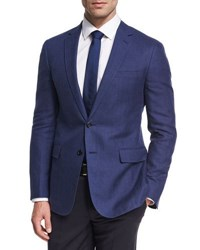 Ralph Lauren Herringbone Linen Wool Sport Coat Blue