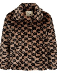 Yumi Faux Fur Leopard Print Jacket Tan