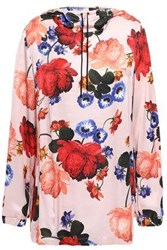 Mother Of Pearl Woman Floral Print Satin Hooded Top Baby Pink