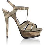 Saint Laurent Camouflage Tribute Platform Sandals Nude