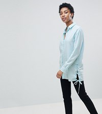 Noisy May Tall Longline Shirt With Tie Detail Blue