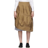 Tricot Comme Des Garcons Beige And Navy Round Skirt
