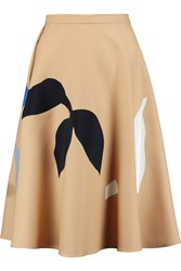 Jonathan Saunders Sally Appliqued Wool Twill Skirt Nude