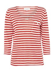 Part Two V Neck Stripe Top With Pocket Red