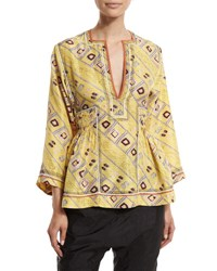 Isabel Marant 3 4 Sleeve Embroidered Tunic Blouse Light Yellow