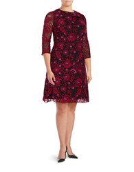 Adrianna Papell Plus Three Quarter Sleeve Floral Embroidered Fit And Flare Dress Red Multi