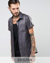 Reclaimed Vintage Party Shirt In Regular Fit Grey