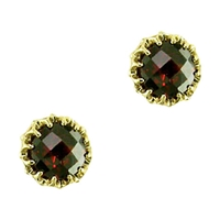 London Road 9Ct Gold Crown Set Stud Earrings