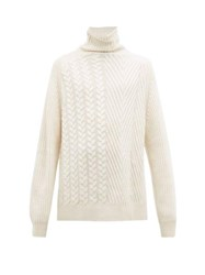 Haider Ackermann Roll Neck Cable Knit Cashmere Sweater White