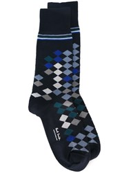 Paul Smith Checked Socks Blue