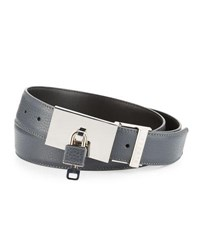 Buscemi Padlock Buckle Leather Belt Dark Gray Dark Grey