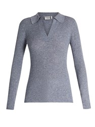 Frame V Neck Wool Blend Sweater Grey